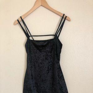 Velvet volour black strappy mini dress showroom